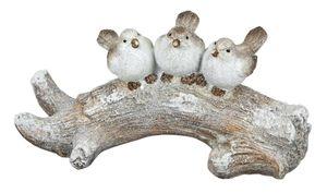 3 Vögel auf Zweig Ast Baum Deko Spatz Vogel Paar Figur Skulptur Eule Gruppe