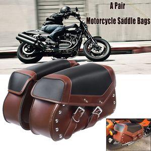 Paar Motorrad Satteltaschen Seiten Werkzeugtasche Kunstleder für Honda FürYamaha
