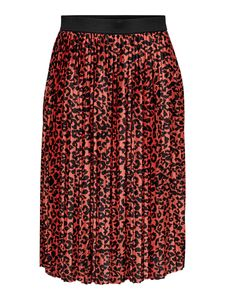 Damen Jacqueline de Yong Rock Jersey Plissee Skirt Knie Lang Elegant Leo Muster Stretch Bund JDYBOA, Farben:Orange, Größe:38