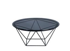 Couchtisch /  Beistelltisch Nairo 1 in schwarz - Glas, Metall - Durchmesser 70cm, Höhe 30cm
