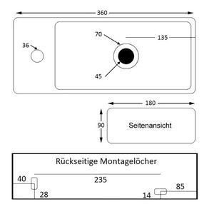 NEG Hänge-Waschbecken Uno41H Armaturloch links