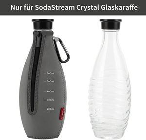 Sodastream Schutzhülle Glasflasche, Bruchschutz Neopren Hülle mit Kapazitätsskala + Karabiner, Schutzhülle (Grau)