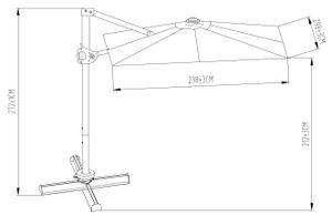 SORARA ROMA Classic Ampelschirm Sonnenschirm | Sand | Quadratisch | Kurbel und 360 Drehvorrichtung | Inkl. Kreuzfuß