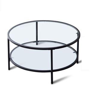 Azkoeesy Couchtisch Glastisch mit Ablage Ø 85x45 cm , 8mm gehärtetes glas und Metallrahmen ,Sofatisch Wohnzimmertisch ,Transparent