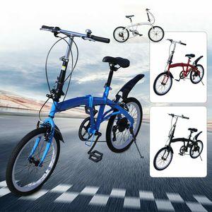 20 Zoll Klapprad Stadtfahrrad Cityrad Klappfahrrad Faltrad Faltbar Fahrrad Doppel-V-Bremse 7 Gang Verstellbar (Blau)