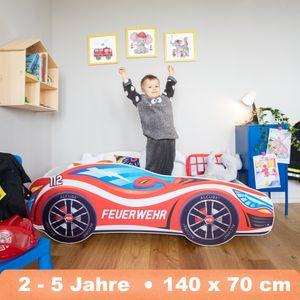 Alcube Kinderbett Autobett PKW Feuerwehr 70x140 cm mit Matratze und Lattenrost Racing Car Spielbett Massivholzbett Rot