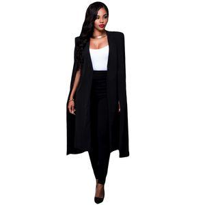 Frauen-langer Mantel-Umhang-Blazer-Mantel-Wolljacke-Spalten-Jacke duenne Buero-OL Klage-beilaeufige feste Oberbekleidung【Schwarz XL】