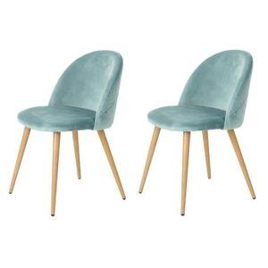 URBAN MEUBLE 2er-Set Esszimmerstühle - Freizeitstuhl- Skandinavische Design-Ergonomische gepolsterte Rückenlehne und Samt gepolsterter Sitz - Grün