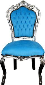 Casa Padrino Barock Esszimmer Stuhl Türkis / Silber - Barock Möbel Stühle Interior