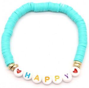 perlenarmband Happy Damen elastisch hellblau