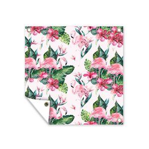 Gartenposter - Muster aus Flamingos, Blättern und Blumen auf einem hellrosa Hintergrund - 100x100 cm
