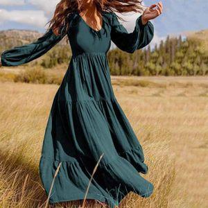 Frauen Mode Langes Kleid Laterne Ärmel Kunst Retro Reine Farbe Kleid Größe:5XL,Farbe:Grün
