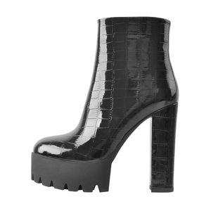 Only maker Damen Ankle Boots Plateau Blockabsatz Stiefeletten Winter Damenschuhe in Reptiloptik Schwarz 44 EU