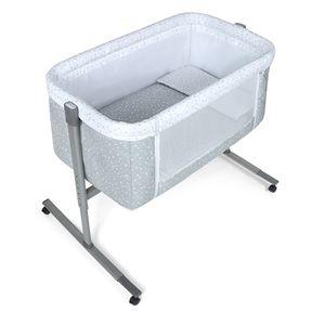 Interbaby - Co-sleeping wiege Aluminium Near - 55X90X85 mit Bekleidung und Bettwäsche - Mod. Universo - Grau