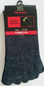 2 Paar Zehensocken Baumwolle Zehenstrumpf fünf Zehen Socken Farbe jeans Gr. 42/46