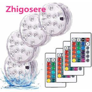 4 stk LED-Tauchleuchten mit Fernbedienung Wasserdichte Unterwasser-LED-Leuchten 7*2.8cm