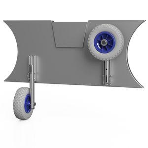 Slipräder, Schlauchbooträder, Heckräder, mit Drehfunktion, SUPROD MD200, Edelstahl V4A, grau/blau