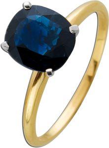Solitär Ring Gelb Gold 585 ovaler blauer Saphir 1,70ct Weissgold IGI und Görg Zertifikat Krappenf