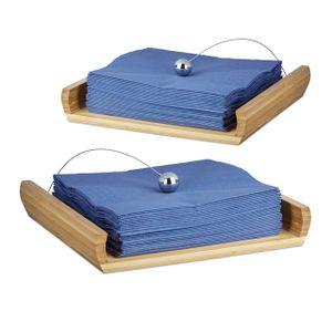 relaxdays 2x Serviettenhalter Serviettenständer Serviettenhalterung Serviettenspender Holz