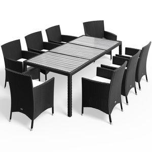 Casaria Poly Rattan Sitzgruppe Venedig WPC Tisch Gartenstühle Stapelbar 7cm Auflagen Gartenmöbel Sitzgarnitur Garten Set, Model:Sitzgruppe 8+1