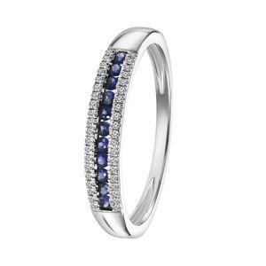 Ring, 585 Weißgold, Saphir und Diamant 0,06 kt