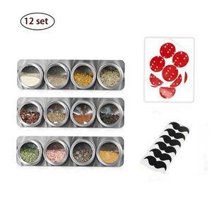 12 Stück Magnetisch Edelstahl Gewürzgläser Set, Rund Gewürzdosen Gewürzstreuer, Gewürzbehälter Transparente Oberseite für Küche Gewürze, 12 Aufkleber,28Gewürzetiketten, 1 Pferch,
