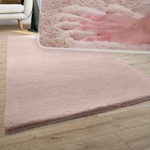 Teppich Wohnzimmer Kunstfell Plüsch Hochflor Shaggy Super Soft Waschbar In Pink, Grösse:80x150 cm