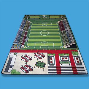 TAPITOM Teppich Kinderzimmer Fußball Spielteppich Kinderteppich Fußballplatz Grün 200 X 130 cm…