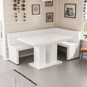 Esstisch, Tisch ,Esszimmertisch, ,Säulentisch ausziehbar weiss Hochglanz