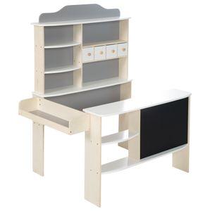 roba Kaufladen, Holz natur,weiß/grau lackiert, 4 Schubladen, Uhr, Tafel, Theke & Seitentheke