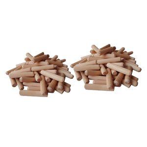 200 Stück Holzdübel Hartholz, gerillt, für Möbel, Holz, gerillt, 6 mm, 8 mm