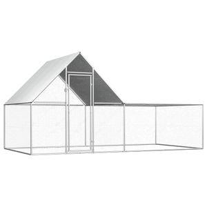 vidaXL Hühnerstall 4x2x2 m Verzinkter Stahl