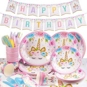 114pcs Gebutstag Party Set Einhorn Party-Set Einweg Rosa Mädchen Einhorn Geburtstag Geschirr Kit Teller Becher für Kinder Kindergeburtstag