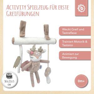 Bieco Kinderwagen Kette Design Reh | ca. 30x21 cm | Als Maxi Cosi Spielzeug, Mobile Babybett oder für Baby Laufgitter | Spielbogen Anhänger | Activity Spiel | Mobile Baby Spielzeug | Greifringe Baby