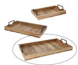 Tablett Dekotablett Holz Mango braun Holztablett Deko Kerzentablett Dekoration 57 x 39 cm