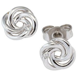 JOBO Ohrstecker verschlungen 585 Gold Weißgold 2 Diamanten Brillanten Ohrringe