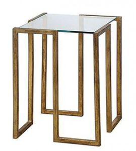 Casa Padrino Luxus Beistelltisch Messing Vincent Gold Finish / Glas 46 x 46 x H 66 cm - Hotel Collection