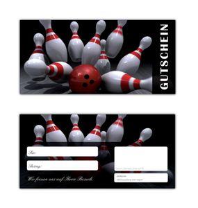 200 Stück Geschenkgutscheine (Bowling-637) Gutscheine Kegeln Postkartenkarton