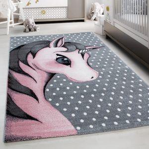 Teppich Kinderteppich Rund Kurzflor Pflegeleicht Einhorn Kinderzimmer Pink , Farbe:PINK,120 cm x 170 cm