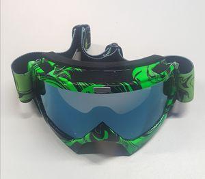Motocross Brille hellgrün Motorradbrille Endurobrille Schutzbrille Racingbrille Crossbrille Linsenfarbe blau-grün