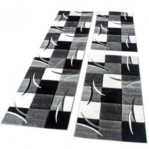 Bettumrandung Läufer Teppich Modern Karo Schwarz Grau Weiss Läuferset 3 Tlg., Grösse:2mal 80x150 1mal  80x300