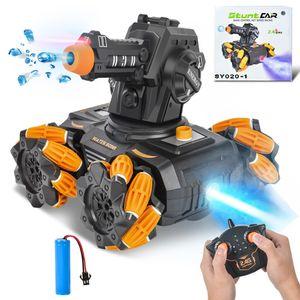 RC Panzer Ferngesteuertes Auto Mecha 360°drehbar und schießen Wasserbomben RC Auto mit Musik LED Leucht 3 Packungen Wasserbomben für Kinder ab 8 Jahre Orange Farbe