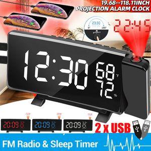 2xUSB Digital Radiowecker Lichtwecker mit Projektion Uhrenradio UKW Schlummer Alarm Tischuhr LED-Wecker Schlummerthermometer Alarm