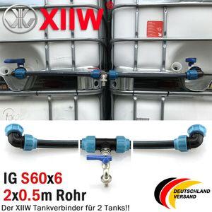 """3/4"""" IBC Adapter Verbindungsset Für Zwei 2 Tank IBC Regenwassertanks Nebeneinander Wassertanks mit Auslaufhahn Schraubkappen 12,5bar S60x6"""