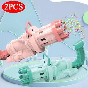 2 Stück Gatling bubble machine, 8-Loch-Seifenblasenmaschinen mit großer Kapazität, Automatische seifenblasenpistole, Seifenblasenpistole elektrisch, Kinder sommerliche Outdoor-Aktivitäten, Pink und Grün