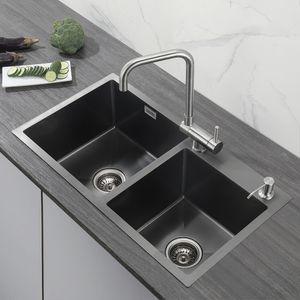 Cecipa Edelstahl Spülen Küchenspüle Spülbecken 78x43cm Anthrazitgrau Einbauspüle mit Ablaufgarnitur und Seifenspender