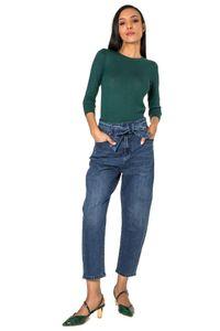 Damen Mom Jeans High-Waist Cropped Weite Hose Five Pocket Bundgürtel, Farben:Blau, Größe:42