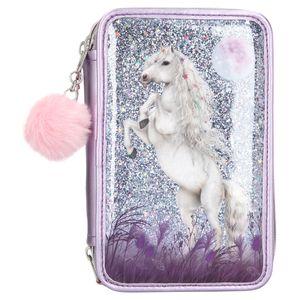Depesche 10770 weißes Pferd Miss Melody 3-fach Federtasche gefüllt Glitzer lila
