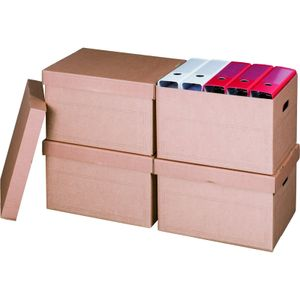 30x Archivboxen Archivschachteln für bis zu 5 Ordner (80 mm) mit Stülpdeckel in Braun
