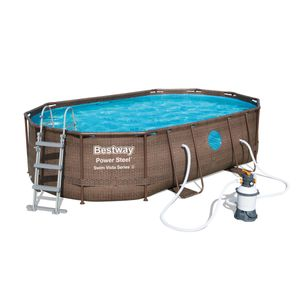 Bestway Power Steel™ Frame Pool Komplett-Set, oval, 488x305x107cm, 56946